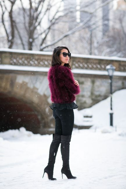 Snow Birdie :: Feather sweater :: Outfit :: Top :: Topshop sweater, Elizabeth & James top Bottom :: Forever 21 Bag :: Rebecca Minkoff Shoes :: Gianvito Rossi Accessories :: Karen Walker sunglasses, BaubleBar cuff Published: February 20, 2015