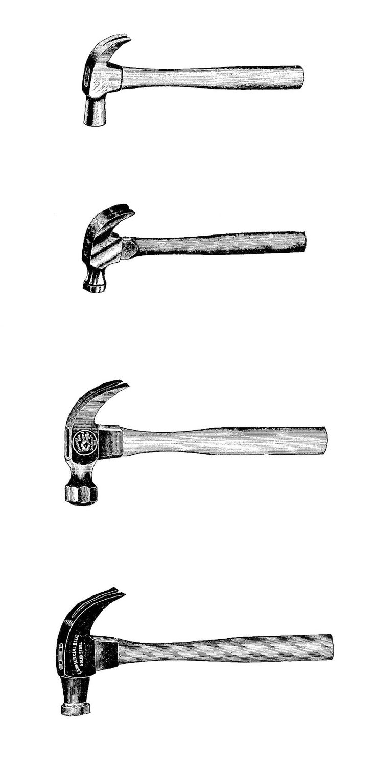 Antique Images: Free Printable Digital Collage Sheet: Digital Collage of 4 Vintage Hammers