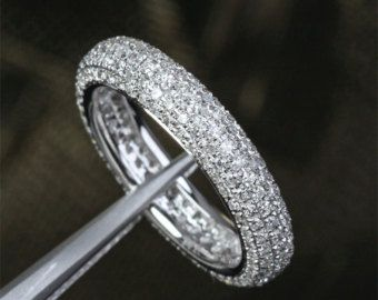 Pave 1.55ctw Diamond -Solid 14K White Gold Engagement Wedding Full Eternity Anniversary Band Ring
