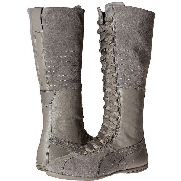 PUMA Eskiva Very Hi (Steel Gray) Women's Boots ($135) ❤ liked on Polyvore featuring shoes, boots, lace up shoes, laced boots, puma boots, laced shoes and puma footwear