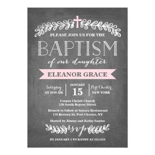 124 best baptism invitations images on pinterest christening baptism invitations elegant laurels pink baptism invitation stopboris Gallery