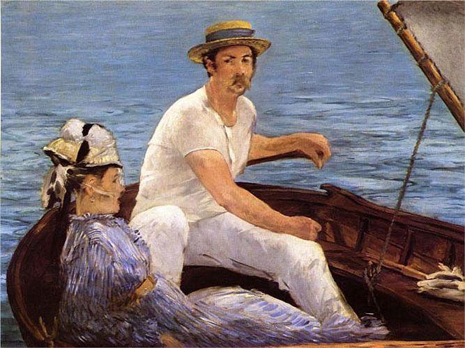 Эдуард Мане. «В лодке»   Работа «В лодке» получилась светлой, праздничной, в ней Мане отходит от традиций испанской живописи, предполагавшей наличие темного колорита.