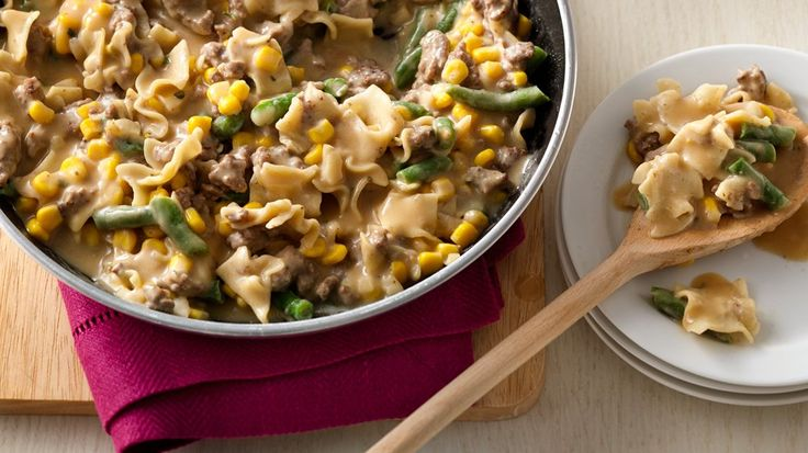 Canned Corn and frozen green beans add some great color, flavor, and veggie love to this one pot meal.