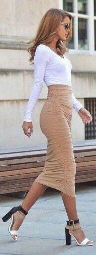 Tan Skirt & White top...Shoes Nice