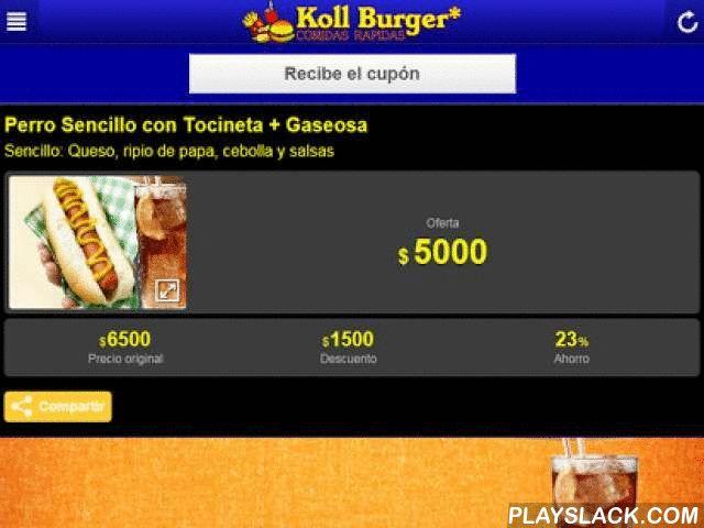 Koll Burger  Android App - playslack.com ,  Koll Burger* Restaurante! Más Calidad, mejor ambiente y el mejor precio!Nos especializamos en Comidas Rapidas: HAMBURGUESAS, PERRO CALIENTE, LASAÑAS, CARNES A LA PARRILLA, CHUZOS y CHORIZOS.En el App Koll Burger encontraras el menu, cupones de descuento, podras hacer pedidos en linea desde la comodida de tu localidad, tarjetas de fidelidad (recompensas), te muestra en el mapa donde estamos ubicados, podras disfrutar del Album en vivo y tomar fotos…