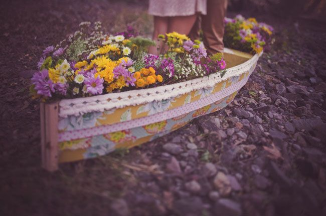 rowboat filled with flowers | Boat Filled With Flowers | Green Wedding Shoes Wedding Blog ...
