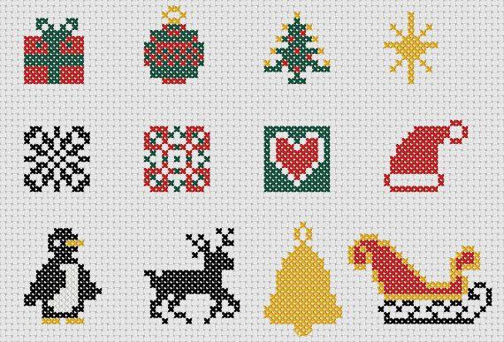 Natale cross stitch motivi: collezione di 22 disegni rapidi