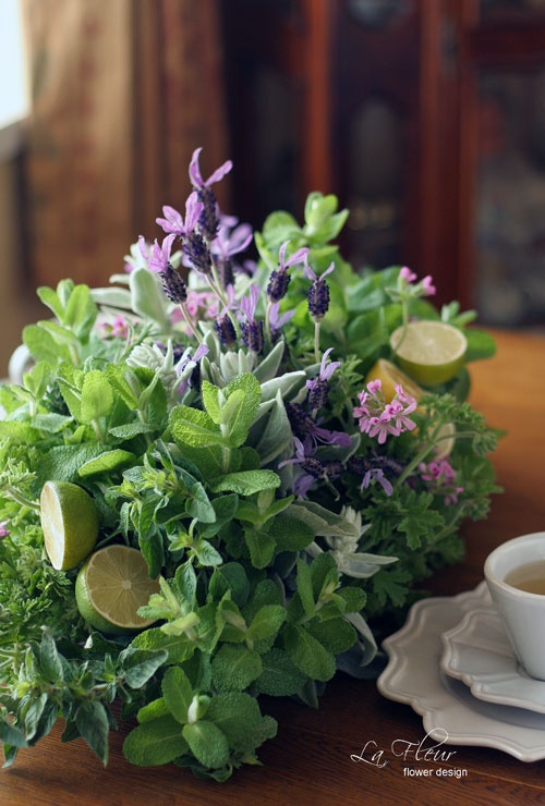 Beautiful herb table scape, so cute