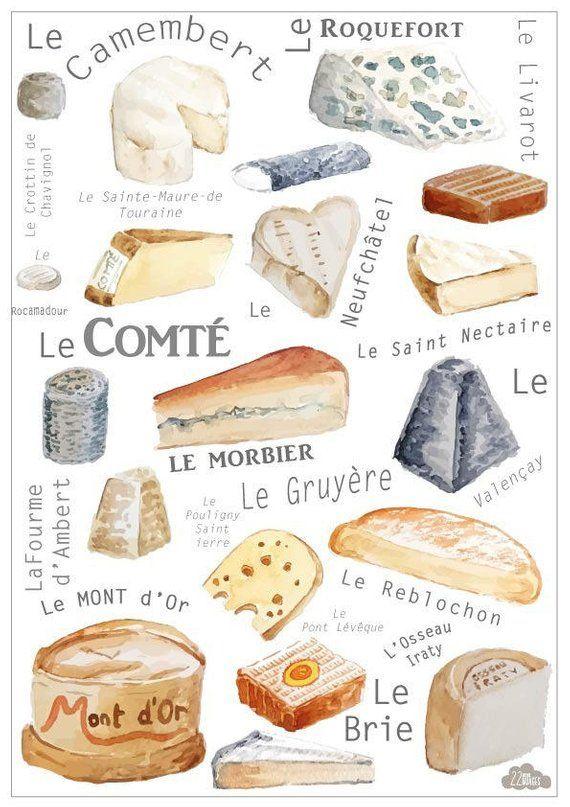 Reproduction de peinture originale réalisée à laquarelle sur papier 300 g – les fromages de France Cadeau idéal pour les mamans, mamies ou jeunes femmes, pour décorer les cuisines. Ou bien pour décorer votre boutique de fromages, votre fromagerie ou bien votre cave à vins :)