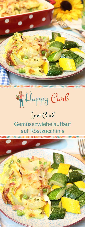 Da weht ein feines Düftchen durch die Stube.  Low Carb Rezepte von Happy Carb. https://happycarb.de/rezepte/fleisch/gemuesezwiebelauflauf-auf-roestzucchinis/