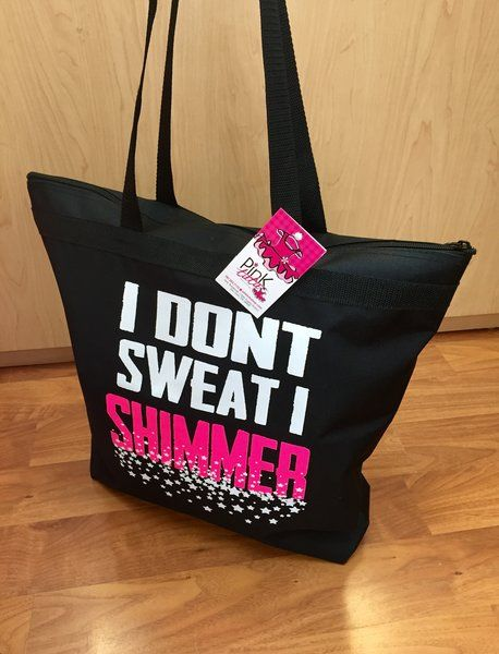I Don't Sweat I Shimmer Black Tote !! Perfect Dance Bag <3  Shop Now! pinktutushop.com #dance #dancer #ballet #ballerina #pinktutu #pinktutushop