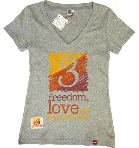 T-shirt 3 Strands Logo - Womens Heather V Neck