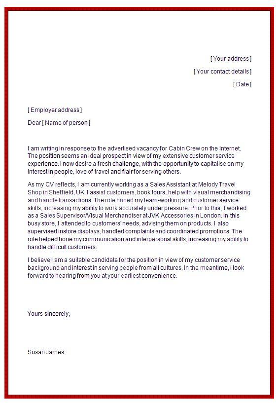 cover letter for flight attendant
