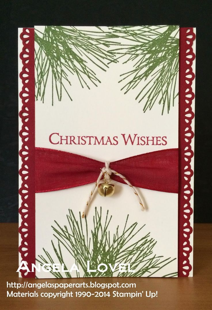 """Features the Stampin' Up! Ornamental Pine stamp set which can be purchased here: http://www3.stampinup.com/ECWeb/ProductDetails.aspx?productID=135107&dbwsdemoid=4011749  Other Stampin' Up! products used include: Very Vanilla & Cherry Cobbler cardstock, Cherry Cobbler 1"""" sheer ribbon, Finishing Touches Edgelits dies, Gold Bakers twine, Cherry Cobbler & Mossy Meadow ink. All of these items can be purchased from my online store: http://www.angelaspaperarts.stampinup.net/ #angelaspaperarts"""