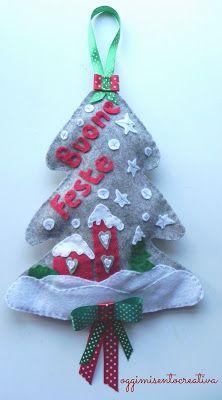 Oggi mi sento creativa: Buon Natale - alberelli fuoriporta in pannolenci