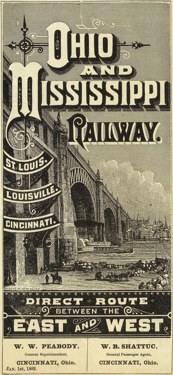 Ohio & Mississippi Railroad poster. Scan old posters and photos with iPhone or iPad + Pic Scanner app. Try it free//.,MAR16