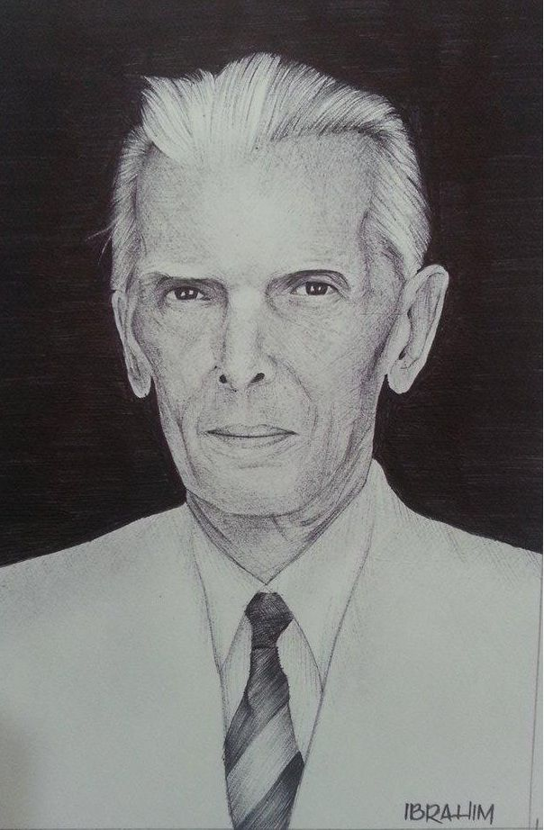 Quaid e azam ballpoint on paper