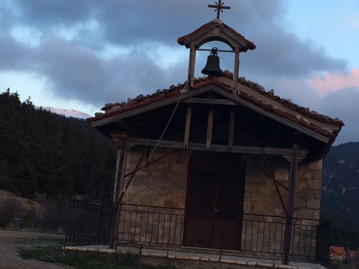 Running past one of the many churches that you can find on Mount Parnassos. This one was at about 1100m