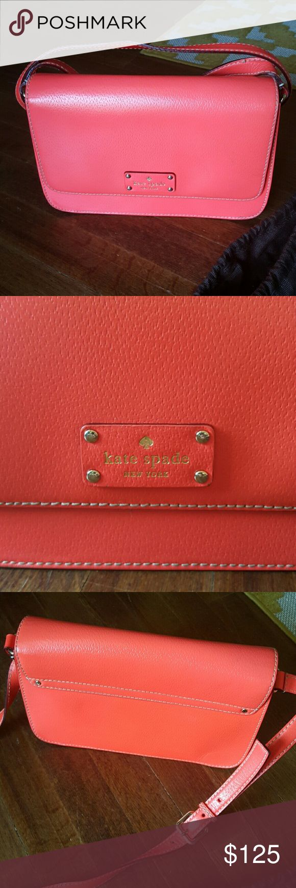 """kate spade crossbow purse Coral Orange Crossbody Bag!!! <3                                      Dimensions: 10.5""""×3""""×7"""". From top of shoulder strap to bottom of purse is approximately 28.25"""". Great condition. Small amount of noticeable everyday use as seen in pictures!!! :) Comes with a kate spade dust bag!!! kate spade Bags"""