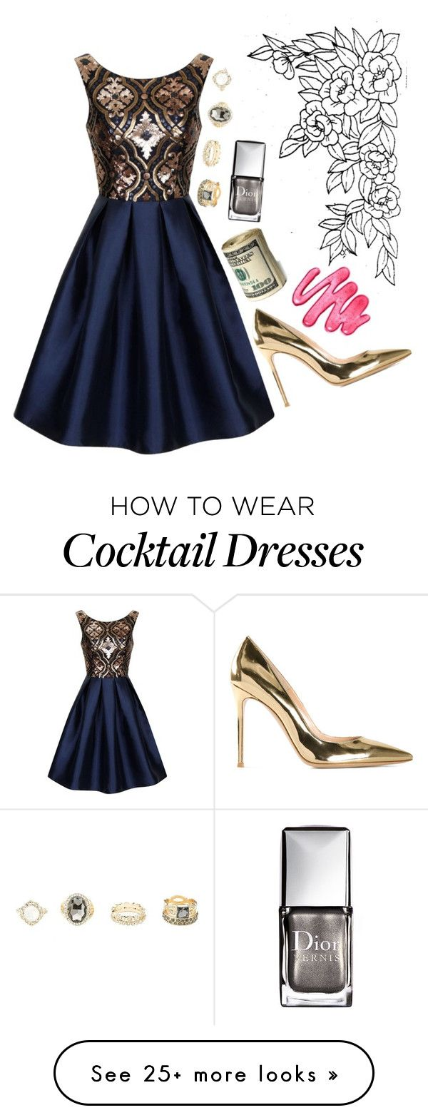 """R"" by weirdestgirlever on Polyvore featuring Chi Chi, Gianvito Rossi, Charlotte Russe and Christian Dior"