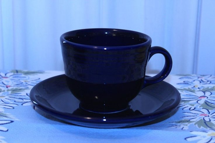 Fiesta p86 Cobalt Blue Contemporary Teacup and Saucer Set #Fiesta