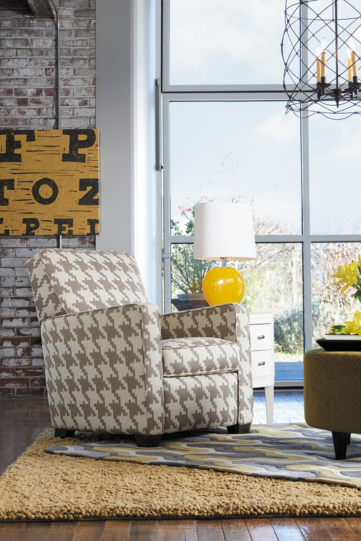 The La-Z-Boy Midtown recliner has a sleek profile that complements contemporary rooms. Plus, PIN TO WIN an ottoman! Get contest details at http://houseandhome.com/la-z-boy | #LaZBoy #Furniture #Chair #LivingRoom