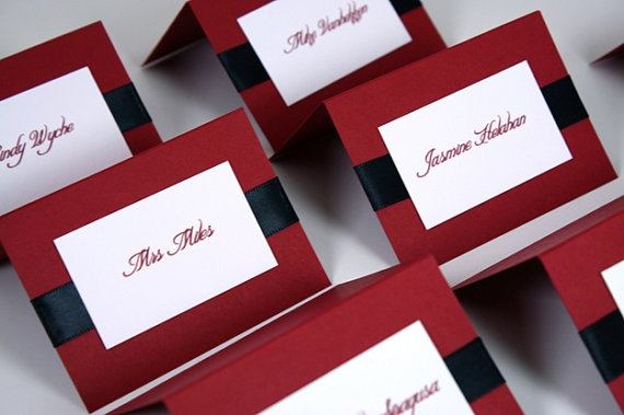 Layered Wedding Place Card set of 10 Red and by sarahcoatsdesigns, $15.10