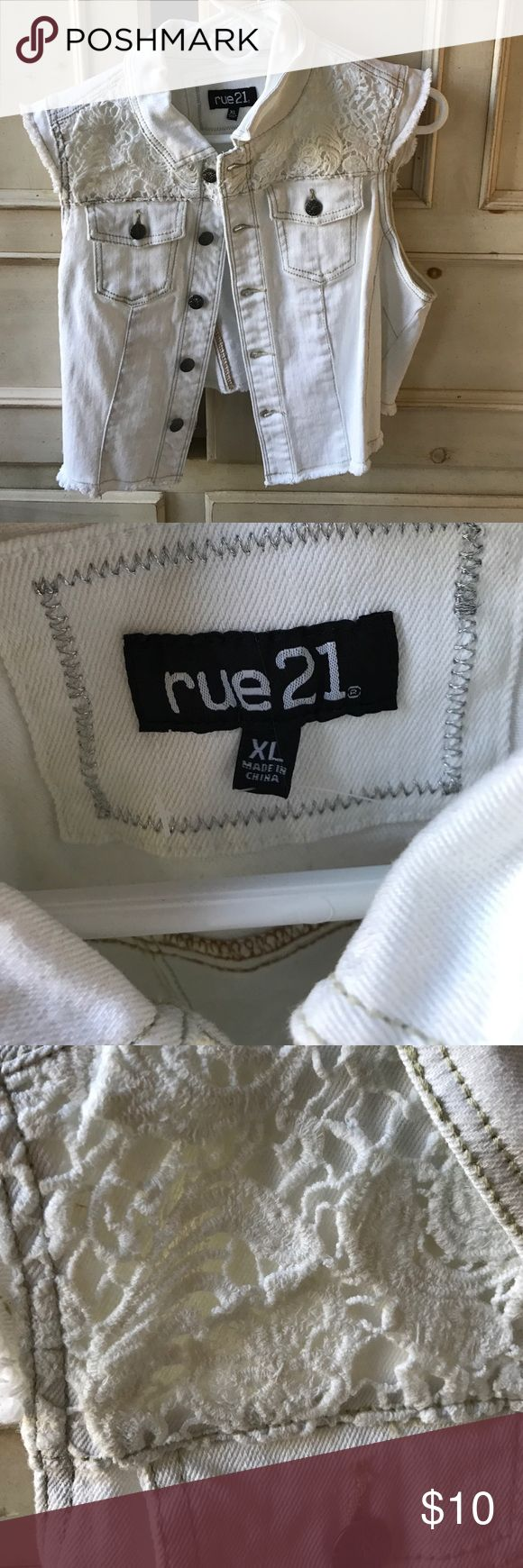 White denim vest New! Never worn, purchases wrong size. Shorter in back, longer in front with lace detailing in the front. Rue 21 Jackets & Coats Vests