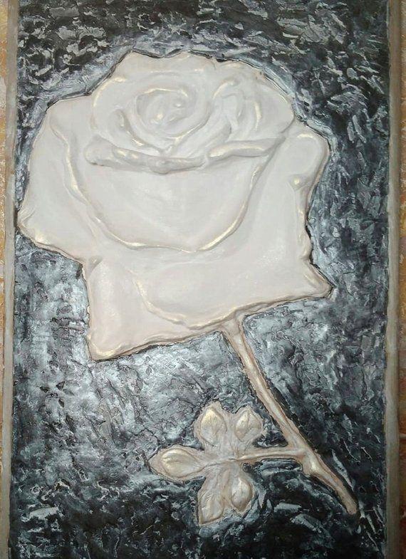Black metal wall art Sculptural Wall Art flower basrelief 3D