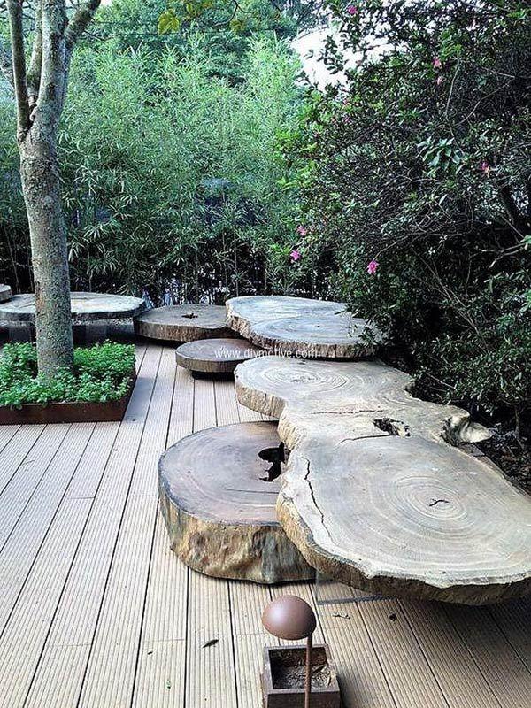 Tronc d\'arbre déco jardin: 15 idées DIY pour un jardin très original ...