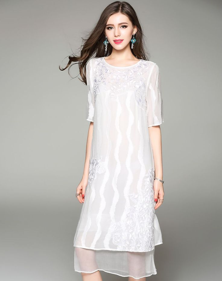 #VIPme White Plain Embroidery Silk Half Sleeve H-Line Dress ❤️ Get more outfit ideas and style inspiration from fashion designers at VIPme.com.