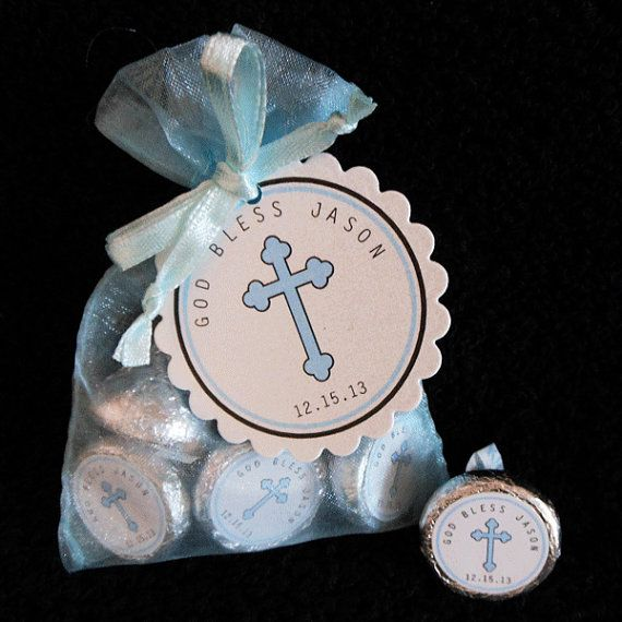 Personalized Hershey Kiss Baptism Favor Set, Christening Favor Set, Communion Favor Set, blue cross on white, set of  40