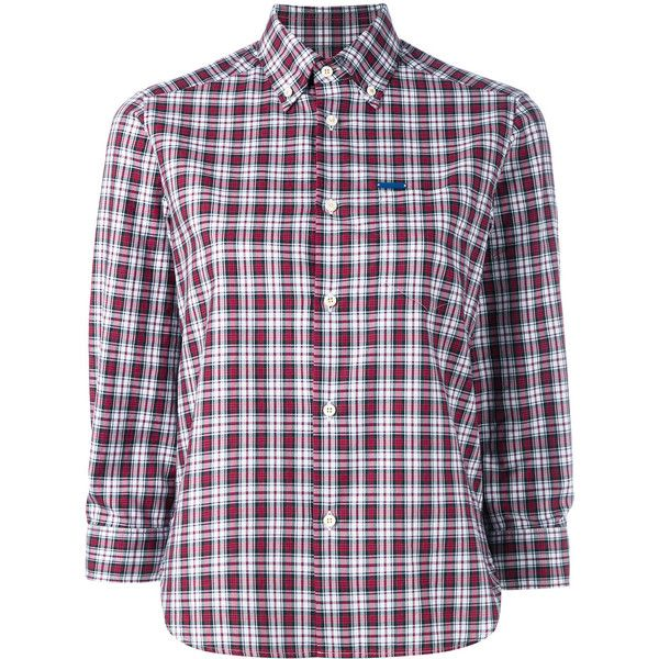 Dsquared2 cropped sleeve plaid shirt ($198) ❤ liked on Polyvore featuring tops, red, logo shirts, curved hem shirt, red plaid shirt, short tops and plaid top