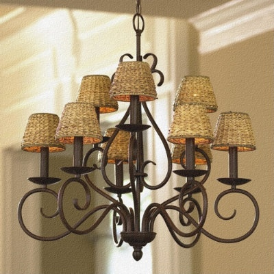 Chandelier For Kitchen I Love The Wicker Lamp Shades