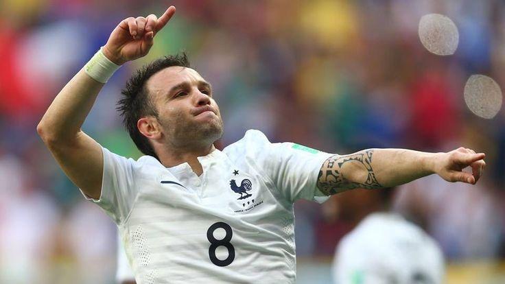 Frances Mathieu Valbuena celebrates the goal. Buy #Valbuena France 2014 World Cu...