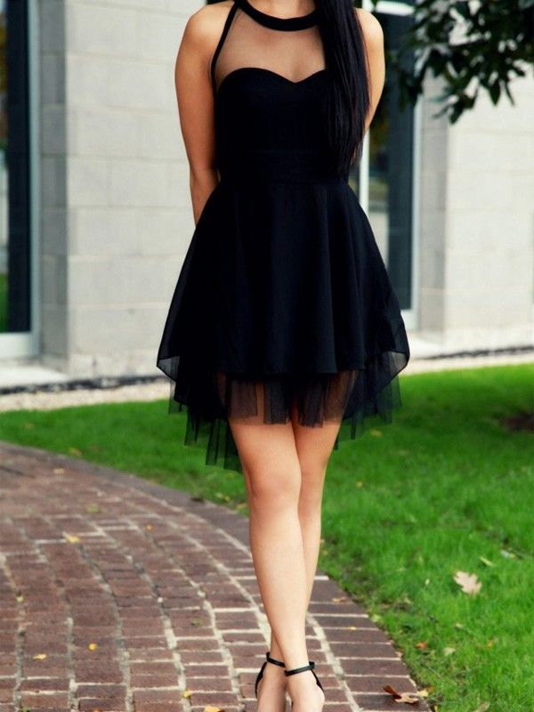 Round Neck See Through Short Black Prom Dresses Homecoming Dresses  #SIMIBridal #homecomingdresses
