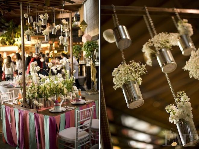 Wedding stylist, planner, and designer Jesi Haack created this lovely hanging bouquet with tin cans. It has such great spirit, and creates a...