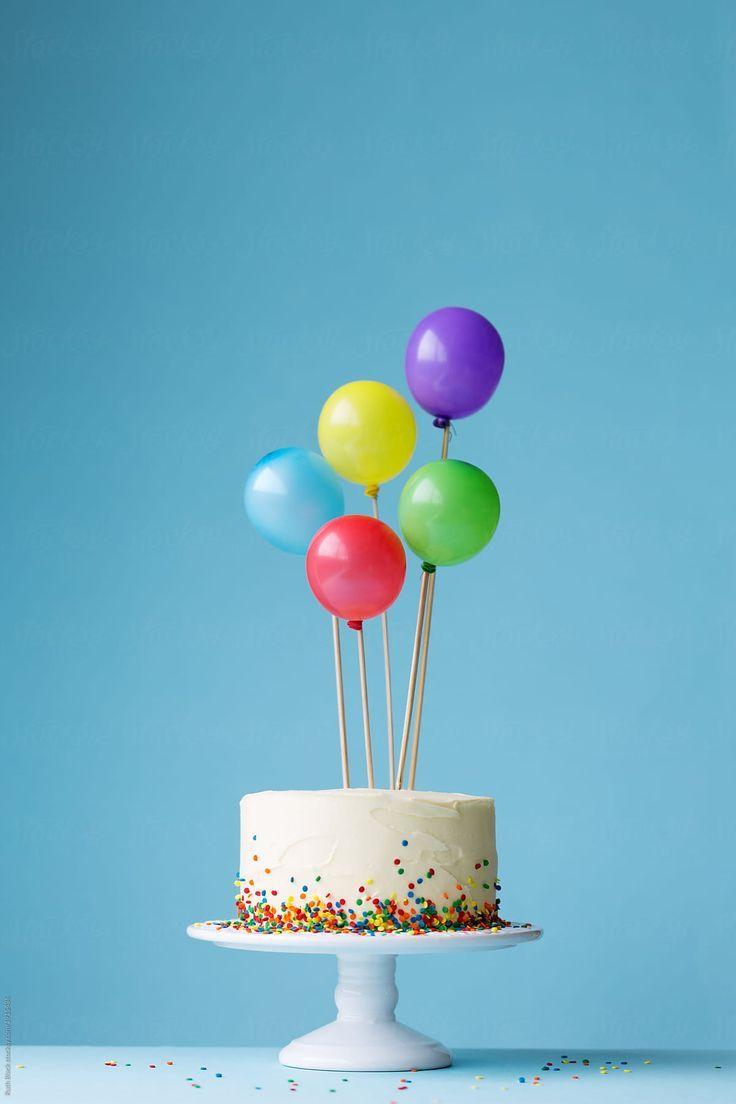 Картинка торт с шарами с днем рождения