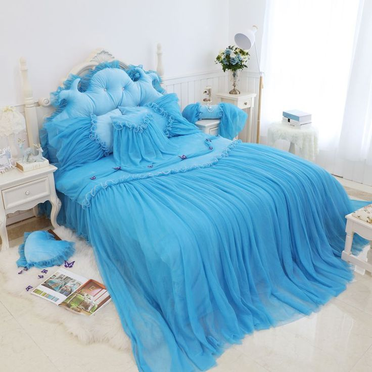 Find More Information about Crystal lace wedding4pcs sky blue bedding set bedskirt princess wedding luxury duvet cover sets lady romantic bedding super king,High Quality duvet coat,China duvet cover sets queen size Suppliers, Cheap bedding product from Queen King Bedding Set  on Aliexpress.com
