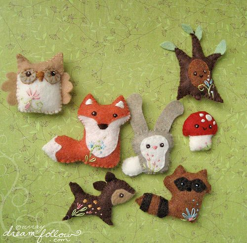 woodland creatures as xmas ornaments