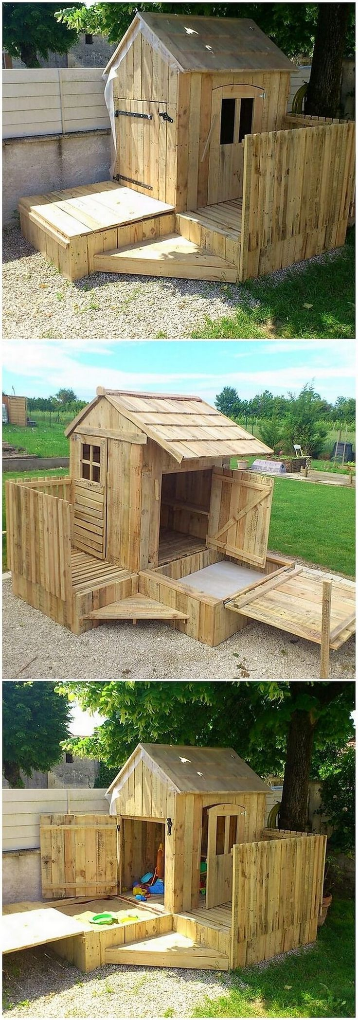 This unique wood pallet creation is some sort of playhouse areas which you can purposely use for so many innovative services. This creation is beige build into the playhouse or the garden cabin form which your kids love to spend much of their vacation time inside it.