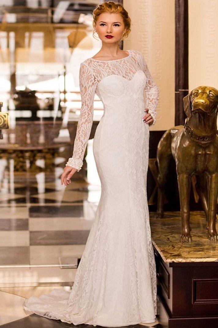 Vestito da sposa per matrimonio civile o seconde nozze, con maniche lunghe in pizzo, per una sposa elegante e romantica