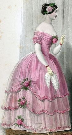 """""""French Girl"""" - hand-coloured engraved fashion illustration of c.1845-50 ball gown w/ floral trims"""