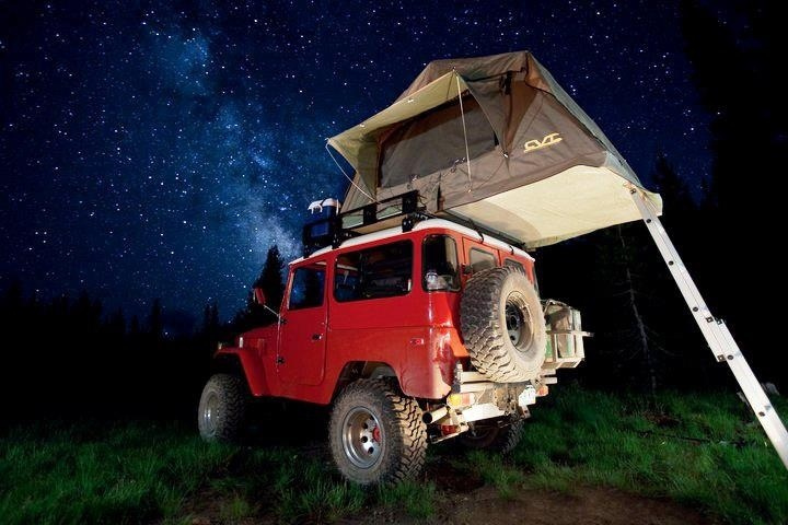 One of the very first photos of our tent on a sweet FJ40 to make a magazine.
