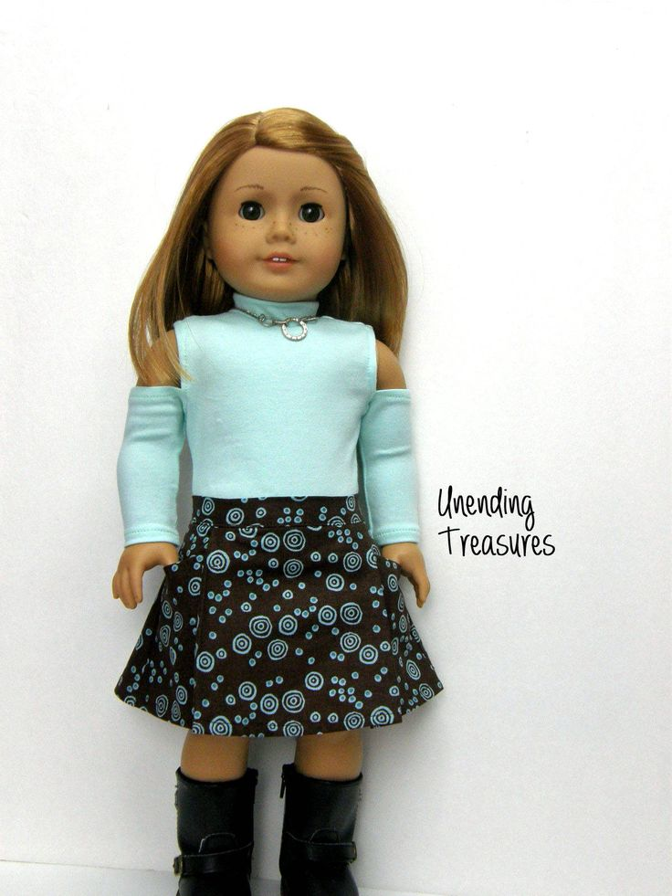18 inch doll clothes made to fit like american girl doll clothes mint green cold shoulder top and harper skirt by Unendingtreasures on Etsy