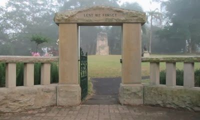 This is the memorial gate for the First World War in  Macarthur Park Camden. The names of Camden volunteers are listed in gold letter on either side the gate. Funded by public subscription. Opened in 1922 by Sibella Macarthur Onslow. Constructed by stonemason W Kerwin. Source: http://www.camdenremembers.com.au/crmemorials.html