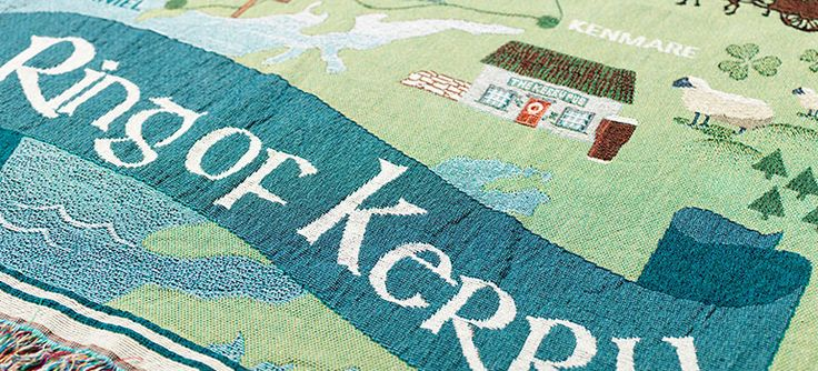 Landmarks and icons along The Ring of Kerry, a mystical and unspoilt region of Ireland, are transformed into a woven blanket with an artful, contemporary design.