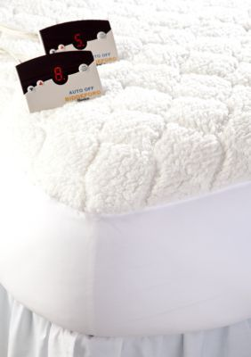 Biddeford  Sherpa Quilted Heated Queen Mattress Pad 60-In. X 80-In. - White