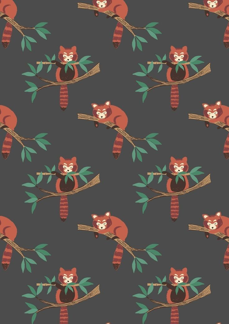 Lewis & Irene Minshan Red Panda on Dark Grey Fabric