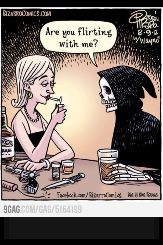 Flirting with the devil: Laughing, Funny Pics, Funny Pictures, Quote, Flirting, Death, The Far Side, Dark Side, Funny Stuff